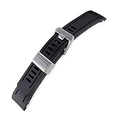 22mm Crafter Blue - Black Rubber Curved Lug Watch Band for Seiko SKX007 from MiLTAT