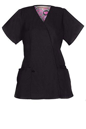 [G Med Women's 2 Pockets V Neck Basic/ Fashion Scrub Top(TOP-MED,BLK-L)] (Black Perforated Top Bottom)