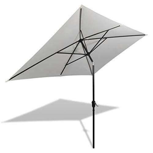 - Foldable Umbrella Rectangular Parasol Anti-UV Sun Sand White