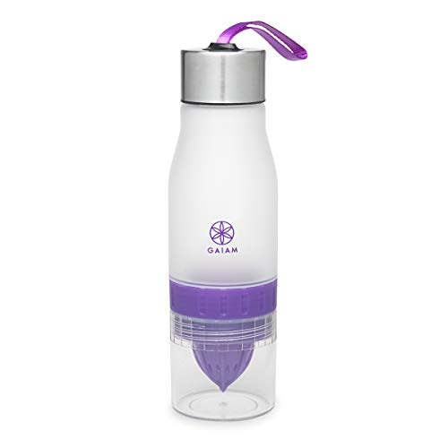 Gaiam Fruit Infuser Water Bottle | BPA Free Non-Toxic | Wide Mouth Dishwasher Safe Infusion Bottle Filter | Carrying Handle Loop on Lid, 22oz, Violet