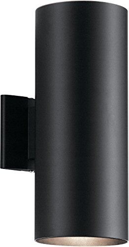 Kichler 9246BK Outdoor Cylinder Wall Mount Sconce UpLight Downlight, Black 2-Light (6