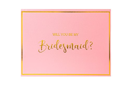"Crisky Bridesmaid Proposal Box set of 6 Empty Box, Bridesmaid Gifts, Gold Foiled Text, Peach Pink, 11.5"" x 8.5"" x 4"""