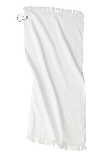 (SPORT GOLF TOWEL WITH GROMMET & CLIP WHITE FRINGED VELOUR AND TERRY)