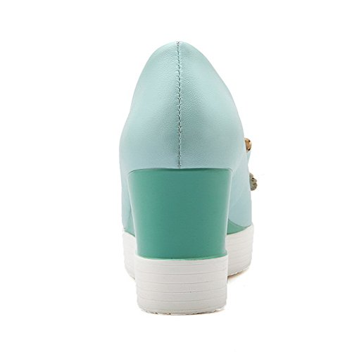 Amoonyfashion Donna Pull On Peep Toe Tacchi Alti Sandali Blu
