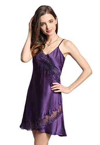 Encaje Ropa Elegante Splice Dormir Suave Cortos Sin Verano Vestido Camisón Camisones Vintage V Sling Violett cuello Silk Cómodo De Mujer Pijama Mangas OIAqnw6Y