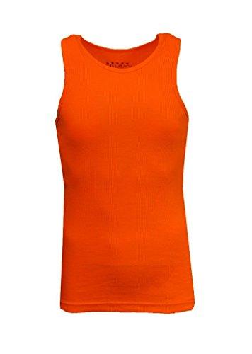 Ribbed Tank Tops for Men - Single  - Orange, Size Large