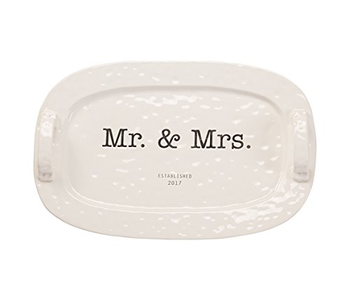 Mozlly Multipack - Mud Pie Mr and Mrs White Ceramic Platter - Handles - 13 x 20 inch - Handles - Gift Box - Novelty Serveware (Pack of 3)