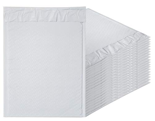 White Poly Bubble Mailers 9.5 x 13.5 Padded Envelopes 9 1/2 x 13 1/2 by Amiff. Pack of 10 Poly Cushion Envelopes. Exterior Size 10 x 13.5 (10 x 13 1/2). Peel and Seal. Mailing, Shipping, Packing. by Amiff