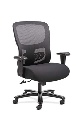 Sadie Big and Tall Office Computer Chair, Height Adjustable Arms with Adjustable Lumbar, Black ()