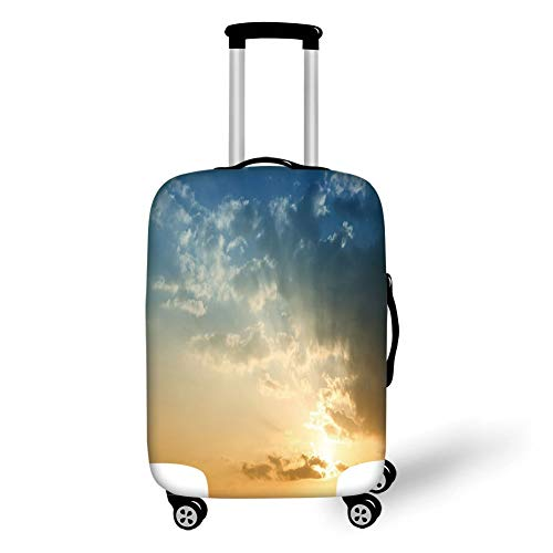 Wheel Sepia Ships - Travel Luggage Cover Suitcase Protector,Yellow and Blue,Sky with Sun Rays Dusk Clouds Mystic Summer Air Tranquil Landscape,Slate Blue Sepia,for TravelM 23.6x31.8Inch