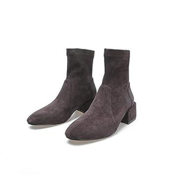 dfab2a844 Shukun Botines Calcetines Botas Zapatos de Invierno Mujer Botas Sencillas de  Primavera y otoño Gruesas con
