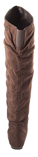 Nature Breeze Damen Vickie Hi Slouchy Overknee Stiefel Braunes Wildleder *