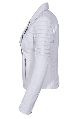 Style Soft Real Ladies Fashion White Motorcycle Leather Designer Stylish 9334 Jacket Biker 7xRzYRn