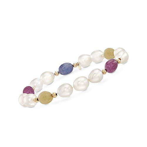 Ross-Simons 6-6.5mm Cultured Pearl and 20.00 ct. t.w. Multicolored Sapphire Stretch Bracelet With 14kt Yellow Gold
