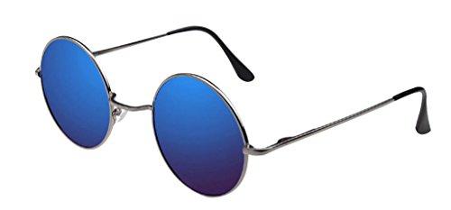rondes dark JYR Cateye Miroir Bleu Sunglass polarisées Hommes Charmming métalliques Mode Objectif Cadres Sliver Femmes moderne qUZxq8r