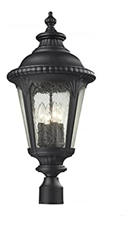 Black Medow 4 Light Black Post Light With Clear Glass Shade