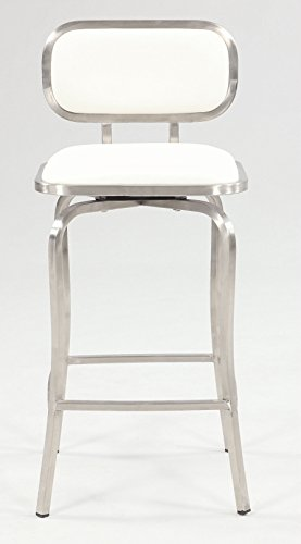 MILAN Tanvi Modern Swivel Counter Stool, White