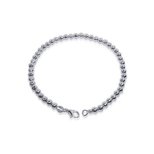 Gem Avenue 925 Sterling Silver 4mm Beads 7 inch Bracelet With Lobster Clasp
