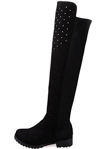 a13fc847fe5cd BIGTREE Botas sobre la rodilla Mujer Casual Otoño Invierno Brillante  Rhinestones Cómodo Planas Sintética Ante Botas ...