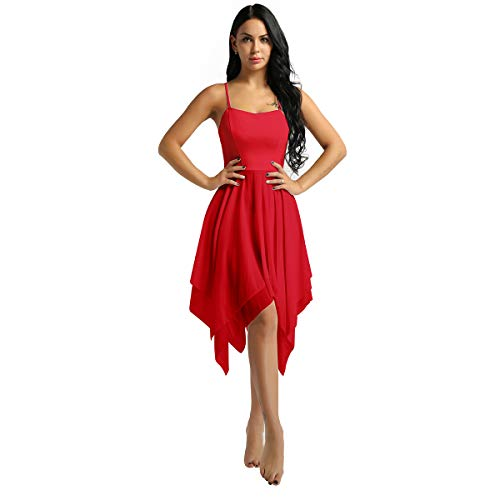 Alvivi Ladies Girls Lyrical Dance Costume Sweetheart Shiny Sequins Ballet Dance Dress Bodysuit Red XX-Large ()