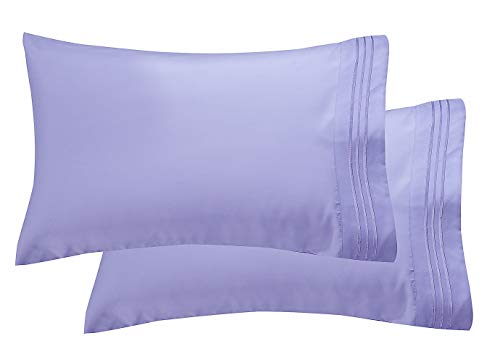 Elegant Comfort Luxury Ultra-Soft 2-Piece Pillowcase Set 1500 Thread Count Egyptian Quality Microfiber Double Brushed-100% Hypoallergenic-Wrinkle Resistant, Standard/Queen Size, Lilac (Lilac Standard)