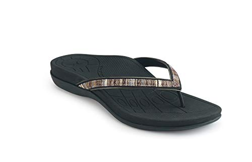 Aetrex Gwen Thong Sandal - Black-42 (US - Aetrex Black Shoes