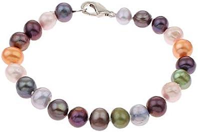 TreasureBay - Pulsera de perlas con forma de patatas, multicolor de 8-9 mm, para mujeres y niñas