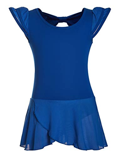 DANSHOW Girls' Ballet Dance Leotards with Flutter Sleeve Petal Skirt and Bowknot Back(8-10years,Royal Blue)]()
