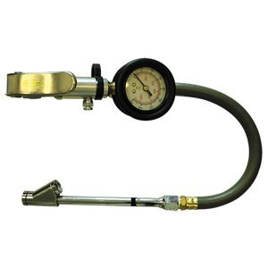 Interstate Pneumatics TF7108 Heavy Duty Dial Inflator 5-160 PSI With 12 Inch Rubber Hose Whipend and 6 Inch Straight-in Dual Foot Tilt-Lock Truck Chuck