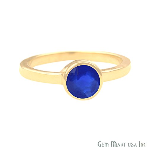 24k Gold Plated Blue Chalcedony Single Stone Solitaire Gemstone Ring, Choose Ring Size (GPBC-12007) (8 US/Canada)