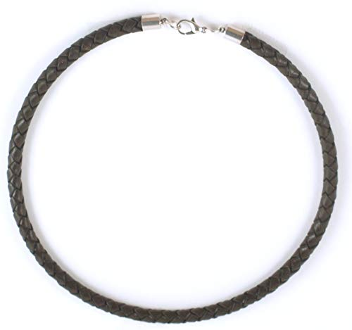 5 mm Brown Braided Leather Cord Necklace for Men, Women -by Greek Crafts (17