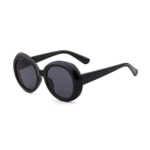 Bold Retro Oval Mod Thick Frame Sunglasses Clout Goggles with Round Lens( Adult - Cool Thick For Frames Lenses