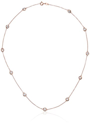 Swarovski Plated Gold Necklace - Rose Gold Plated Sterling Silver Station Necklace set with Swarovski Zirconia (4mm), 36