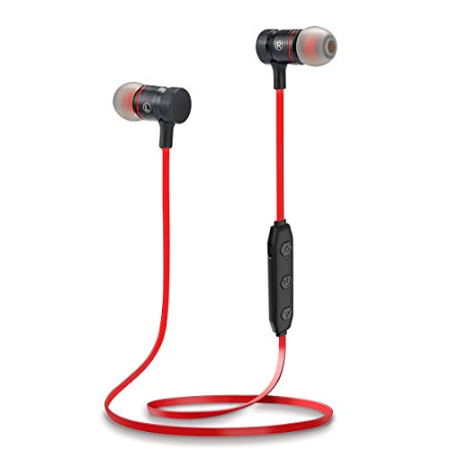 Proshine Bluetooth Headphones Wireless Earbuds Sweatproof Earphones Magnetic Attraction Stereo Earphones for Running Workout Gym Noise Cancelling (RED)