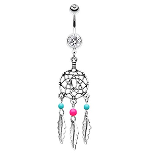 Freedom Fashion Classic Beaded Dream Catcher 316L Surgical Steel Belly Button Ring (Sold Individually) (14GA, 3/8
