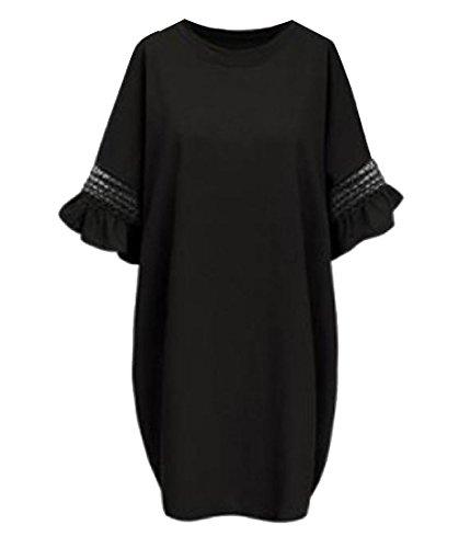 Robes Élégantes De Confortables Femmes Tops Noir Robe Crayon Ras Du Cou Solide