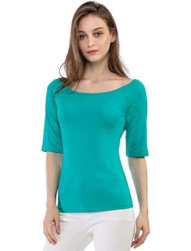 Allegra K Women's Half Sleeves Scoop Neck Fitted Layering Top Soft T-Shirt XL - Sleeve Shirt Denim 3/4 Stretch