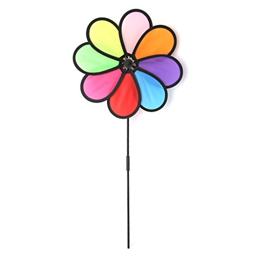 OTGO 8 Leaves Colorful Windmill Wind Spinner with Ground Stake for Your Yard Garden Outdoors Decoration Children Kids Windmill Toys 8 Leaves Colorful Windmill Wind Spinner with Ground Stake for Your