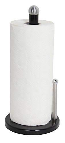 Home Basics Enamel Coated Steel Paper Towel Holder (Black)