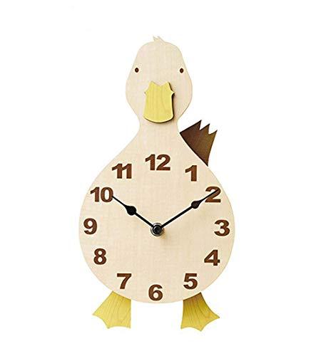 YOURNELO Children's Cartoon Animals Wildlife Noiseless Wall Clock (Duck)