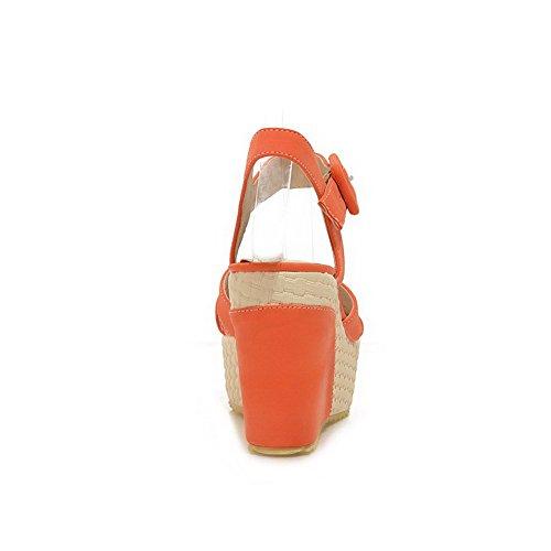 Odomolor Mujeres Hebilla Tacón Alto Pu Sólido Sandalias de vestir Naranja