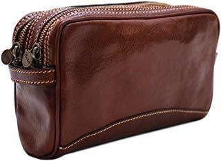 Cenzo Leather Travel Dopp Kit Toiletry Bag in Brown