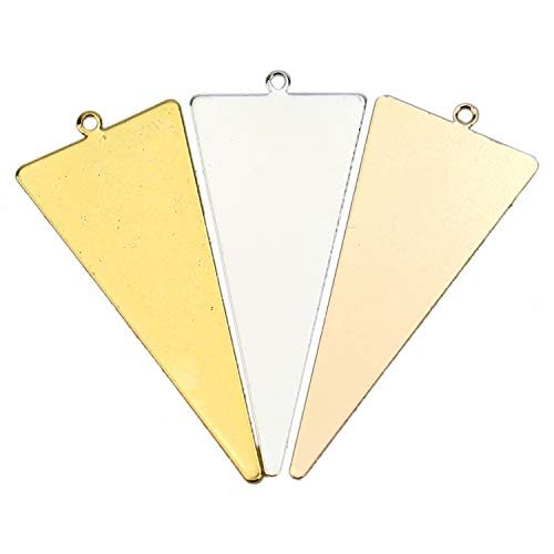 JETEHO 15 pcs Metal Blank Stamping Tag Pendants Charms for Bracelet Earring Pendant ()