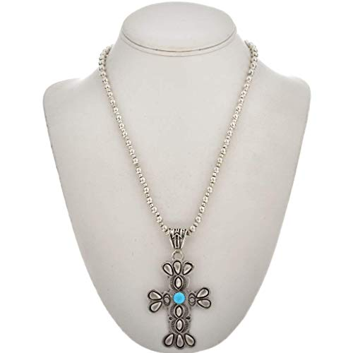Southwest Turquoise Cross Silver Pendant Old Navajo Style Necklace 1565 ()