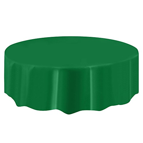 Boshen 10pcs/Pack Plastic Table Cloth 84''/54''x108'' Table Cover Cloth for Restaurant Banquet Wedding Party Festival Decor (Deep Green, 84 inch-Round) by Boshen