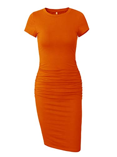 Missufe Women's Short Sleeve Ruched Casual Sundress Midi Bodycon T Shirt Dress (Orange, Medium)