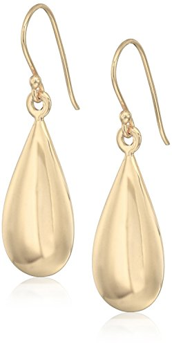 Gold Plated Sterling Silver High Polished Teardrop Puff French Wire Drop (Gold Plated French Wire Settings)