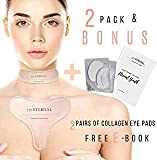 Anti Wrinkle Chest Pads | 2 Pack of Medical Grade Silicone Decollette Pad for Chest Wrinkles and Silicone Care Neck Pad to Remove and Prevent Wrinkle Bonus 2 Pairs of Collagen Eye pads and Free E-book