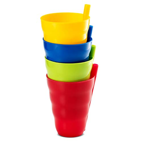 (Plaskidy Straw Cup, Set of 4 Kids Cups, Brightly Colored, Dishwasher Safe, BPA Free, Sippy Cups with Built in Straw, 10 OZ Unbreakable Kid Plastic Cup with Straw, Great for kids and Toddlers.)