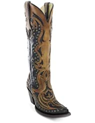 CORRAL Women's Tall Top Inlay and Stud Cowgirl Boot Snip Toe - G1072